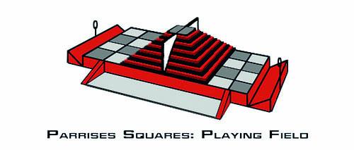 Grafische Darstellung des Spielfeldes von Parrises Squares
