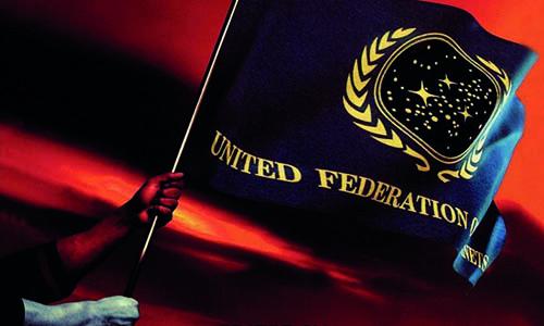 Flagge der Vereinigten Föderation der Planeten im Wind