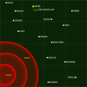 Darstellung der berechneten Explosionsreichweite von Hobus